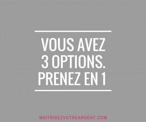 3 OPTIONS. PRENEZ EN 1
