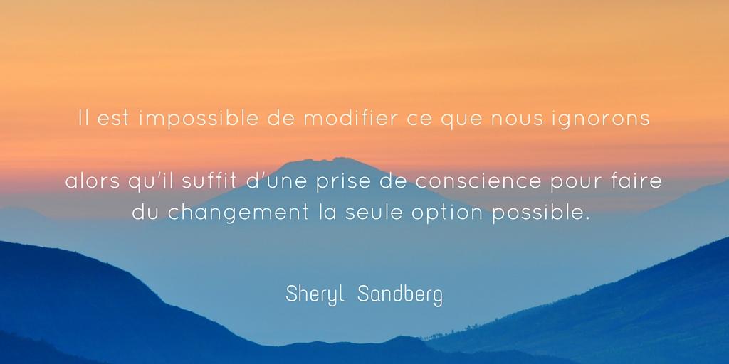 Il est impossible de modifier ce que nous ignorons alors qu'il suffit d'une prise de conscience pour faire du changement la seule option possible